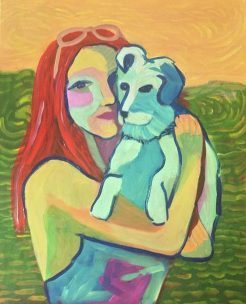 Painting - Red Haired Girl With Dog by Cherylene Henderson