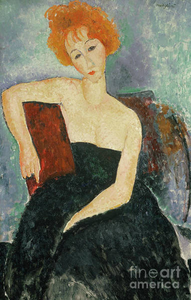 Wall Art - Painting - Red Headed Girl In Evening Dress, 1918  by Amedeo Modigliani