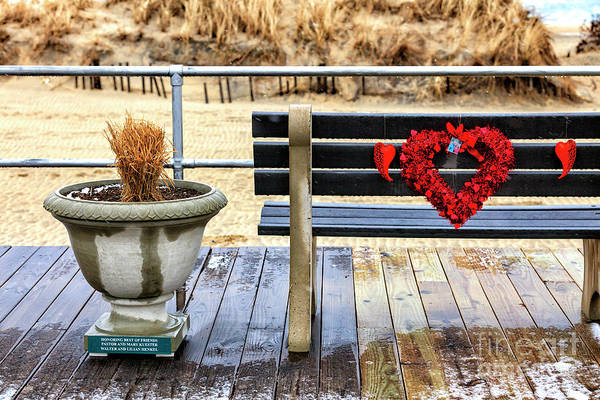 Down The Shore Photograph - Red Heart On The Ocean Grove Boardwalk In New Jersey by John Rizzuto