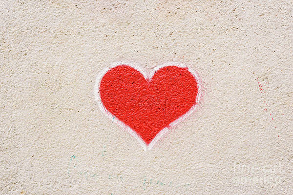 Red Heart Painted On A Wall, Message Of Love. Art Print