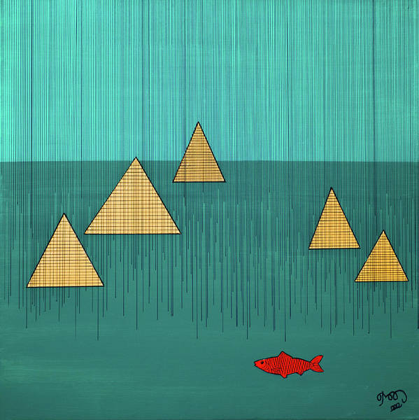 Wall Art - Painting - Red Herring - Homage To Klee by Roxanne Andorfer