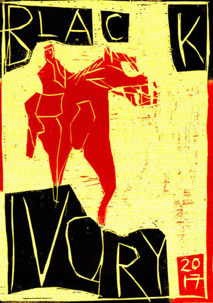 Digital Art - Red Horseman Black Ivory Woodcut Poster 26 by Artist Dot