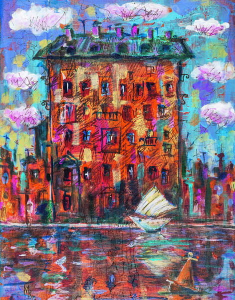 Painting - Red House And Sailing Boat2 by Maxim Komissarchik