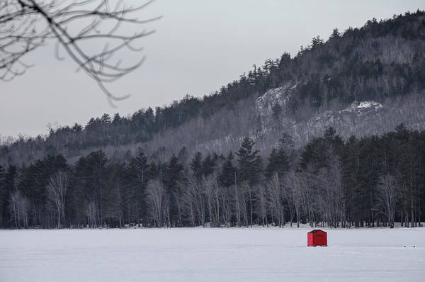 Photograph - Red Ice Fishing Shack by John Meader