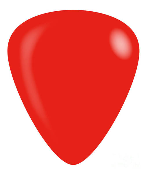 Wall Art - Digital Art - Red Isolated Guitar Plectrum by Bigalbaloo Stock