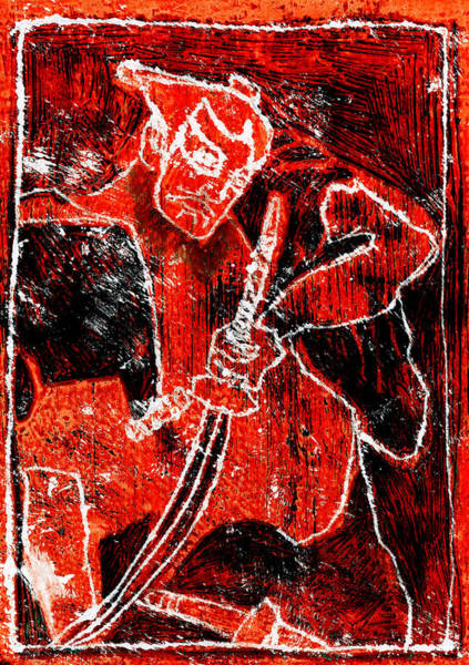Relief - Red Japanese Warrior 7f2 by Artist Dot