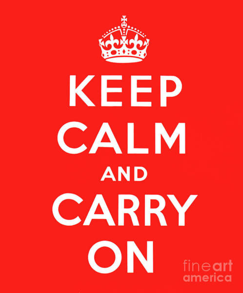 Wall Art - Digital Art - red, Keep Calm and Carry On by English School