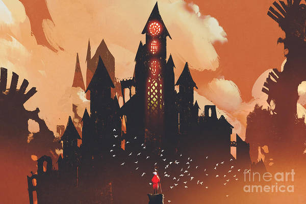 Wall Art - Digital Art - Red Knight Standing In Front Of Fantasy by Tithi Luadthong