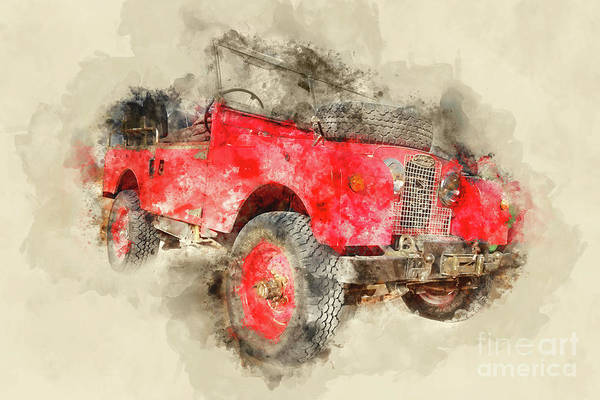 Wall Art - Painting - Red Vintage 4x4 Car by Delphimages Photo Creations