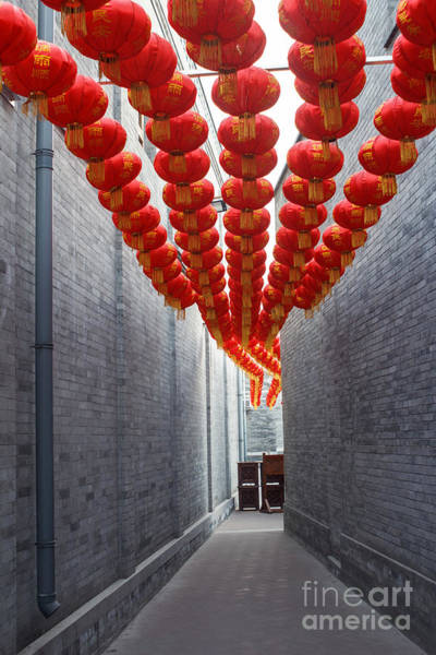 East Asia Wall Art - Photograph - Red Lantern In The Alley,beijing by Long8614