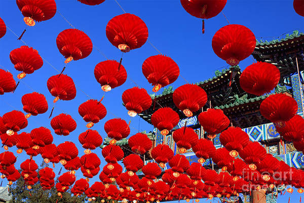 Wall Art - Photograph - Red Lanterns Are Used As Decoration For by Testing