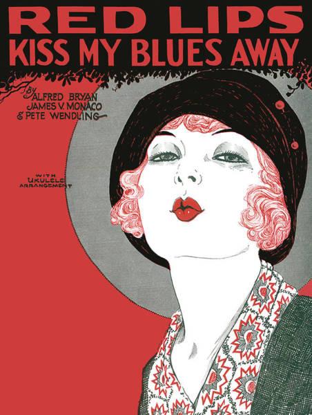 Wall Art - Photograph - Red Lips Kiss My Blues Away 1927 by Daniel Hagerman