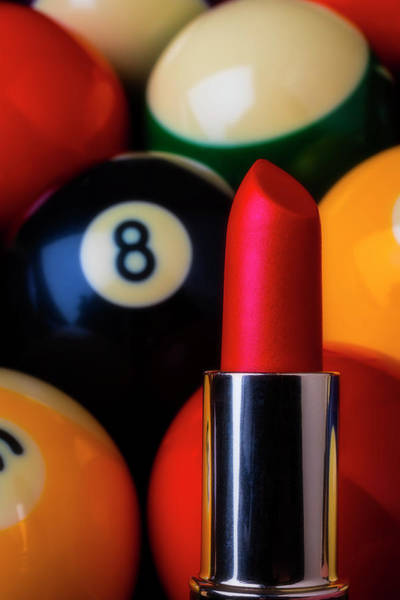 Wall Art - Photograph - Red Lipstick And Eight Ball by Garry Gay