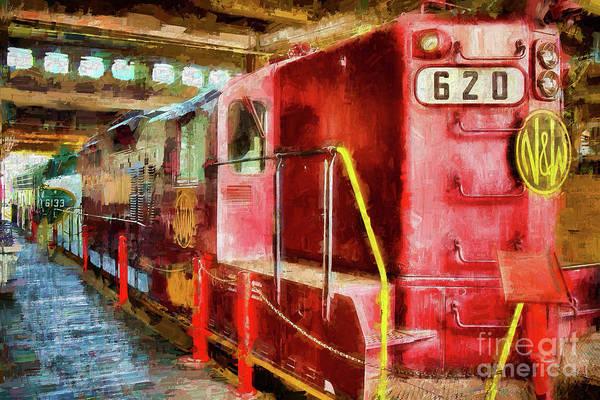 Diesel Trains Painting - Red Locomotive Train Ap by Dan Carmichael