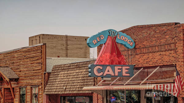 Neon Photograph - Red Lodge Cafe Montana by Edward Fielding