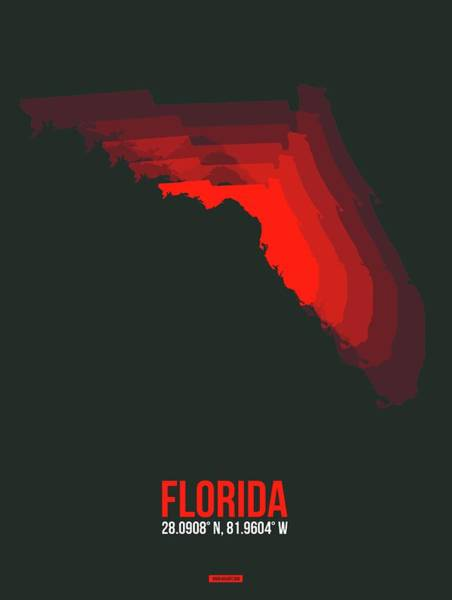 Wall Art - Digital Art - Red Map Of Florida by Naxart Studio