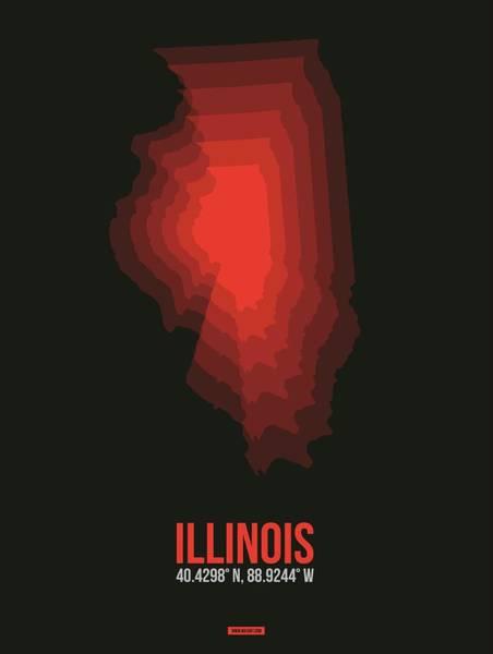 Wall Art - Digital Art - Red Map Of Illinois by Naxart Studio