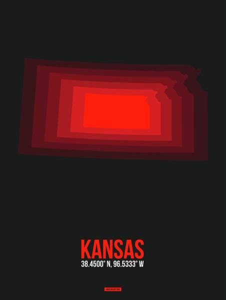 Topeka Wall Art - Digital Art - Red Map Of Kansas by Naxart Studio