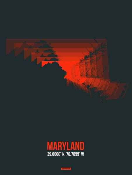 Wall Art - Digital Art - Red Map Of Maryland by Naxart Studio