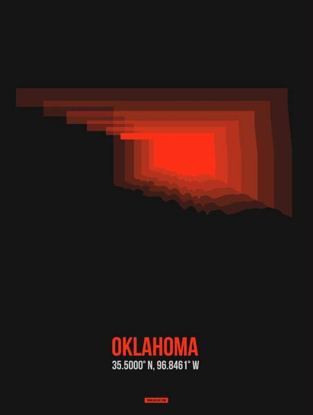 Wall Art - Digital Art - Red Map Of Oklahoma by Naxart Studio
