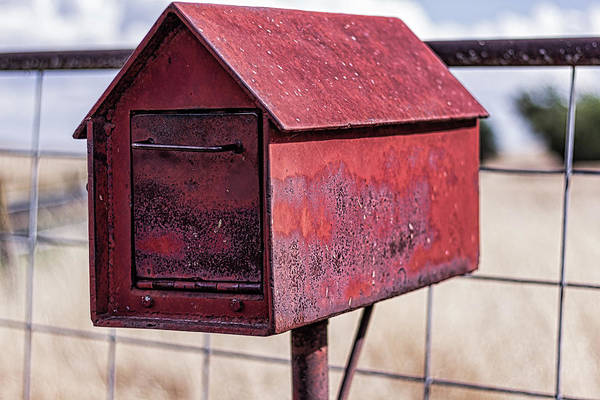 Photograph - Red Metal Mailbox by Randy Bayne