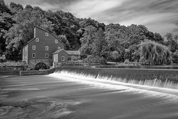 Wall Art - Photograph - Red Mill In Clinton New Jersey Bw by Susan Candelario