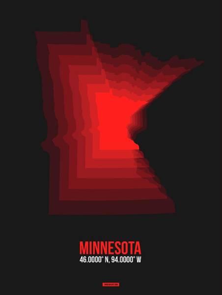 Wall Art - Digital Art - Red Minnesota Map by Naxart Studio