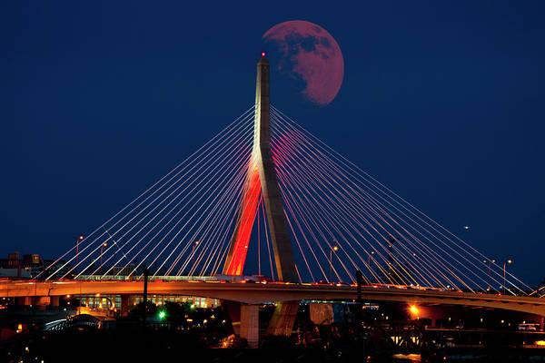 Photograph - Red Moon Over The Zakim Bridge - Boston by Joann Vitali