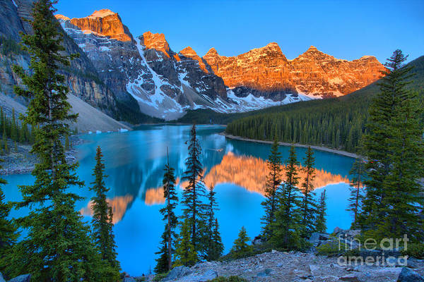 Photograph - Red Morning Peaks At Moraine Lake by Adam Jewell