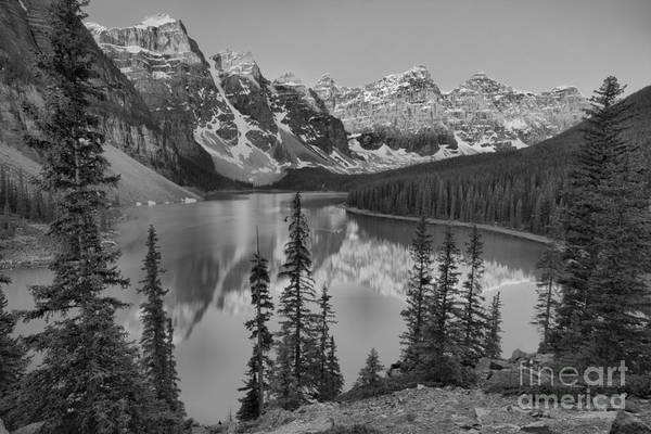 Photograph - Red Morning Peaks At Moraine Lake Black And White by Adam Jewell
