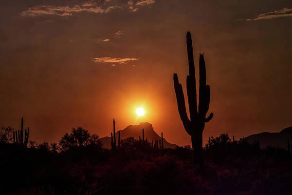 Wall Art - Photograph - Red Mountain Silhouette Sunset  by Saija Lehtonen