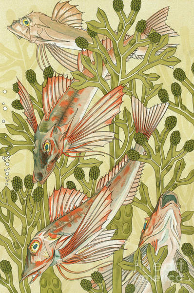 Wall Art - Painting - Red Mullet by Maurice Pillard Verneuil