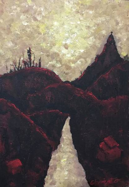 Landscape Painting - Red Night by Christo Botha