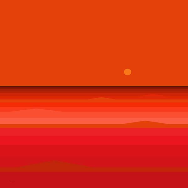 Digital Art - Red Ocean Sunset by Val Arie
