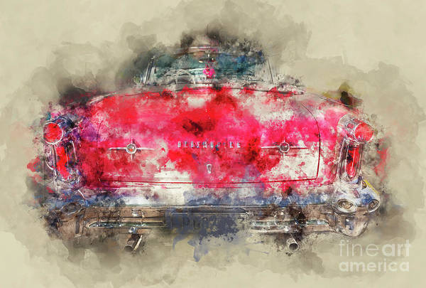 Oldsmobile Wall Art - Painting - Red Oldsmobile - Back by Delphimages Photo Creations
