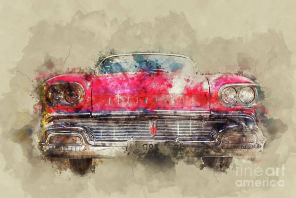 Oldsmobile Wall Art - Painting - Red Oldsmobile by Delphimages Photo Creations