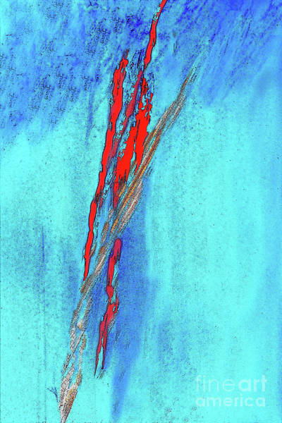 Mottled Mixed Media - Red On Blue Abstract by Sharon Williams Eng