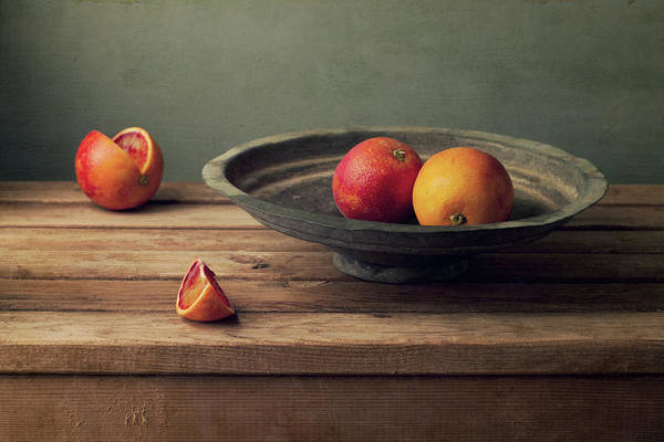 Wall Art - Photograph - Red Oranges On Vintage Plate by Copyright Anna Nemoy(xaomena)