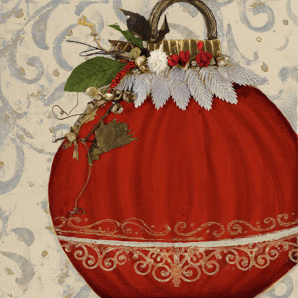 Wall Art - Painting - Red Ornament II by Patricia Pinto