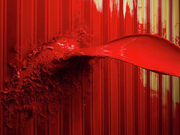 Horizontal Stripes Photograph - Red Paint Splattering On Painted Stripe by Biwa Studio