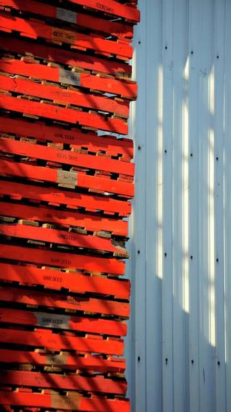Photograph - Red Pallets by Jerry Sodorff