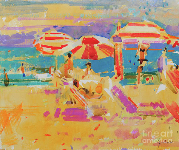 Wall Art - Painting - Red Parasols, Miami by Peter Graham