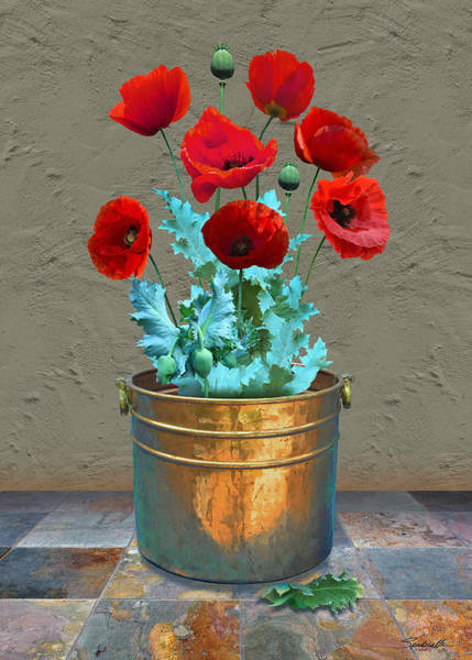 Wall Art - Digital Art - Red Patio Poppies by M Spadecaller