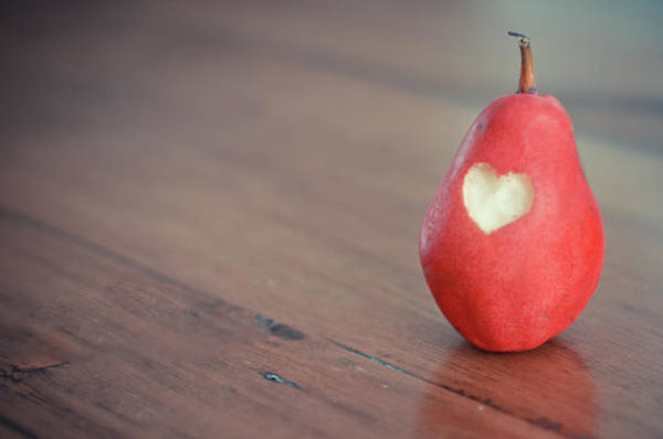 Wood Photograph - Red Pear With Heart Shape Bit by Danielle Donders