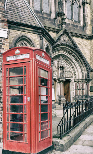 Photograph - Red Phone Box At York Minster Cathedral by Georgia Fowler