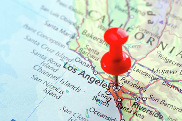 Usa Map Photograph - Red Pin Pointed On The Los Angeles Map by Yorkfoto