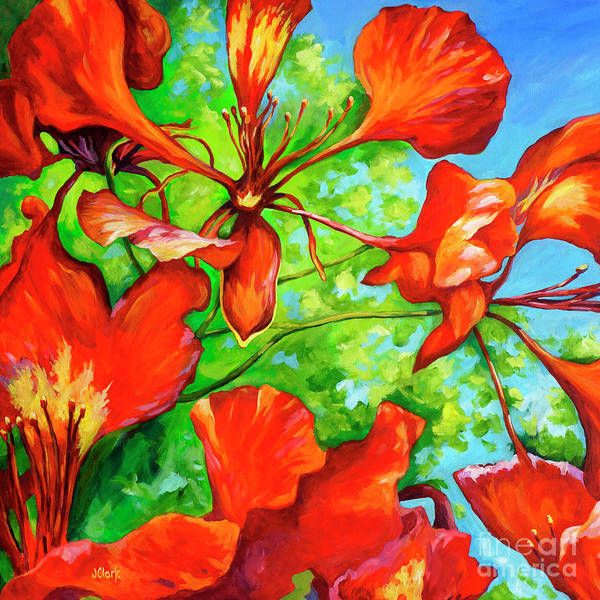 Wall Art - Painting - Red Poinciana Bracts Square by John Clark