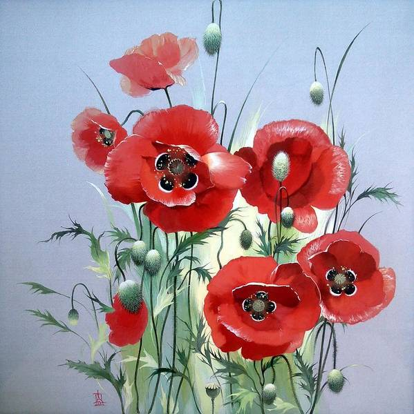 Painting - Red Poppies by Alina Oseeva
