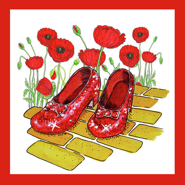 Wall Art - Painting - Red Poppies Field And Ruby Slippers Wizard Of Oz by Irina Sztukowski
