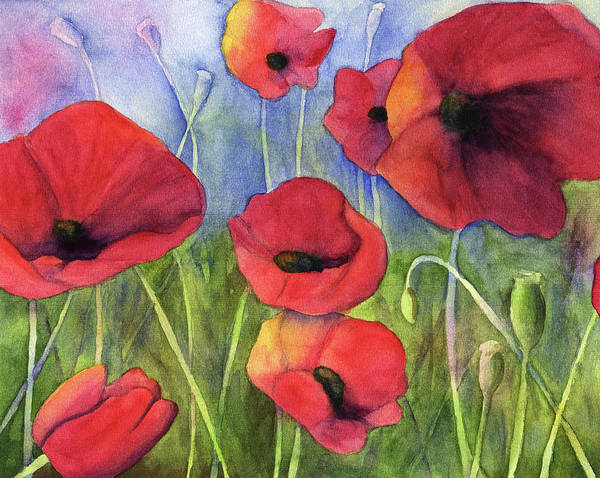 Poppies Digital Art - Red Poppies by H2o color
